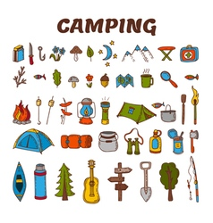 Hand drawn camping icon set in color Collection of vector
