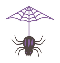 hanging spider cobweb isolated design icon vector image