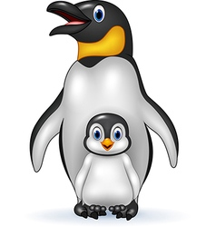Happy emperor penguin with baby vector image