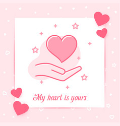 heart on hand valentine card love text icon vector image