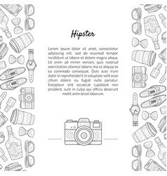 hipster banner template with place for text and vector image