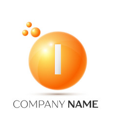 i letter splash orange dots and circle bubble vector image