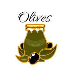 Icon of olives and olive oil in jar vector