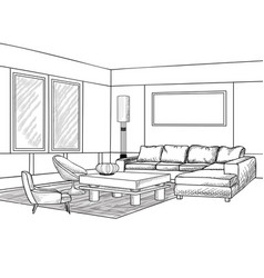 interior outline sketch living room furniture vector image