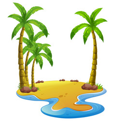 Island with coconut trees vector