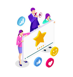 isometric video rating video channel promotion vector image
