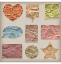 Labels or symbols of colored crumpled paper vector