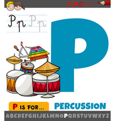 Letter p from alphabet with percussion musical vector