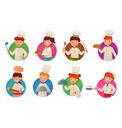 Little kid chef children cooking kids cooks in vector