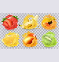 mango banana kiwi fruit strawberry lemon papaya vector image