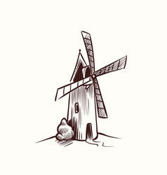 mill sketch village old rural windmill on vector image