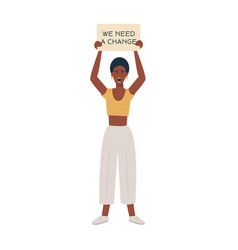 Modern black woman protesting agains violence vector