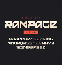 Modern bold display font named rampage vector