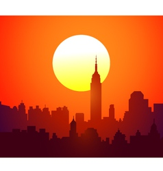 New York skyline and Sunset vector