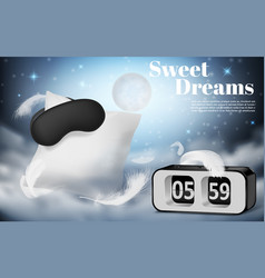 Night background with pillow and blindfold vector