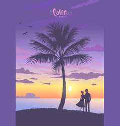 palm trees and couple vector image
