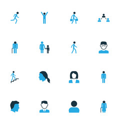 People colorful icons set collection of happiness vector