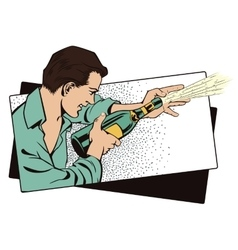 People in retro style Man with champagne vector