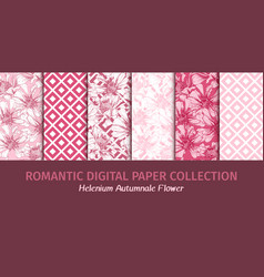 pink flowers digital papers for romantic vector image