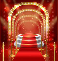 Podium for show with red carpet vector