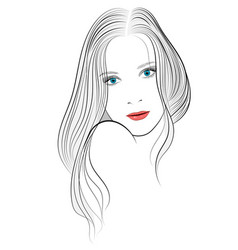 Portrait of a girl with long hair vector