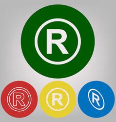 Registered trademark sign 4 white styles vector