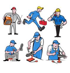 repairman mascot cartoon set vector image