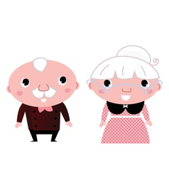 Retro Grandparents isolated on white vector