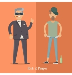 Rich and Pauper Men Social Level Human Poster vector
