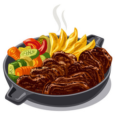 roasted meat with vegetables vector image
