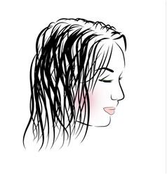 Romantic girl with long hair vector