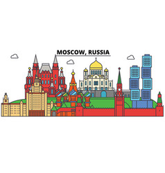 Russia moscow city skyline architecture vector