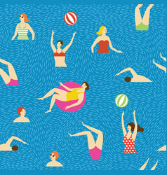 seamless pattern swimmmers in water vector image