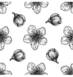 seamless pattern with black and white peach vector image