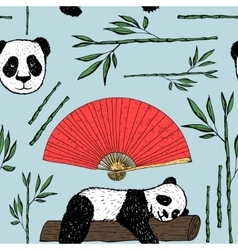 Seamless pattern with pandaJapanese background vector image