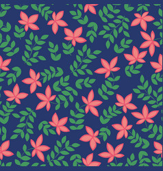 seamless pattern with red flowers decorative vector image