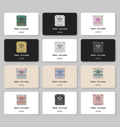 set business cards with hand drawn vintage vector image
