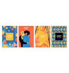 set cards cozy autumn vector image