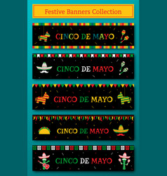 Set of 5 national cinco de mayo fiesta web banner vector