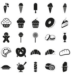 Set of black dessert icons vector image