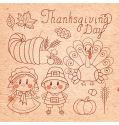 Set of vintage elements for Thanksgiving vector image