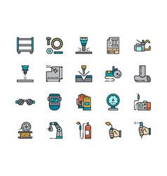 Set welding flat color line icons spot machine vector