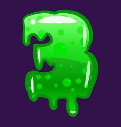 Slime font type number 3 latin alphabet green vector