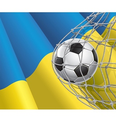 Soccer goal and Ukraine flag vector image