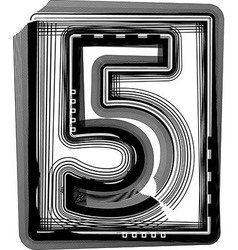 Striped font NUMBER 5 vector image