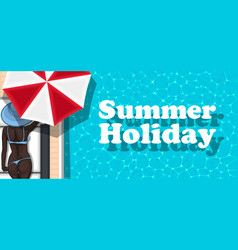 Summer holiday banner with girl sunbathing vector