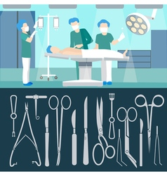 Surgery operation medicall staff hospital room vector