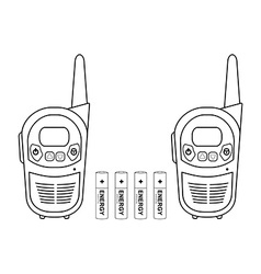 Travel radio set devices wit batteries Contour vector