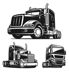 truck set black and white vector image