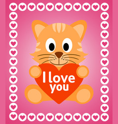 valentines day background card with cat vector image